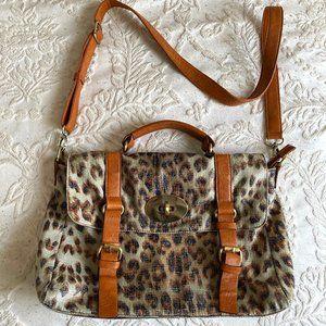 Melie Bianco Bag, Leather Messenger Bag, Leopard